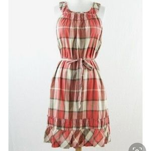 NWT Talbots Plaid Cream and Red Crinkle Dress